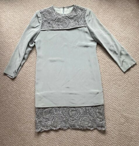 Vintage Richilene Gray Silk Long Sleeve Dress with