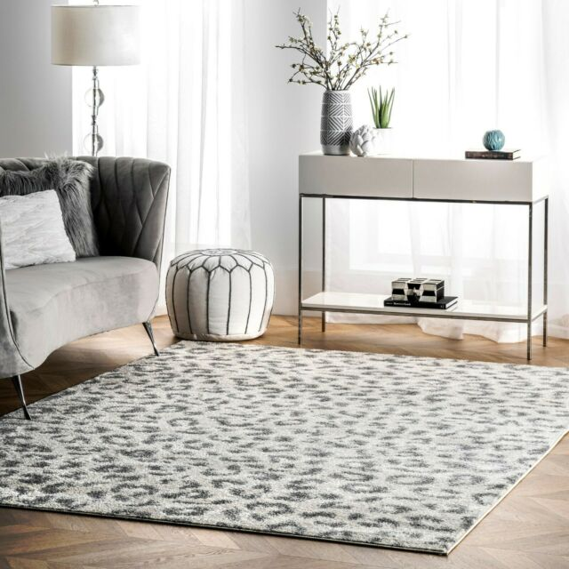 Nuloom Contemporary Modern Animal Leopard Print Area Rug In White And Grey For Sale Online