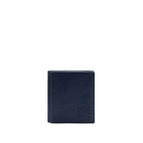 DUDU Piccolo Portafoglio Uomo Blu in Pelle Bufalo con Portamonete Tessere Carte