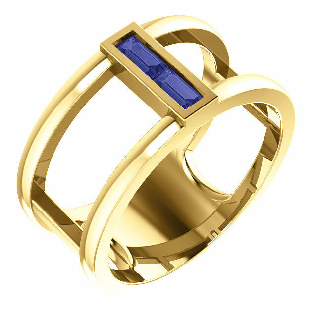 Genuine Tanzanite Baguette Negative Space Ring In 14K Yellow gold