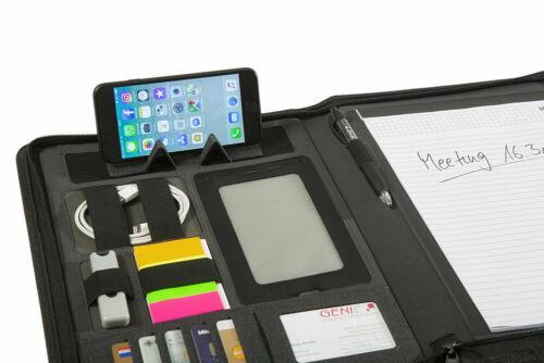 GENIE München A4 Schreibmappe mit Tabletfach Handyfach Konferenzmappe Aktenmappe