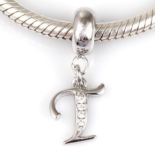 """Andante-stones 925 plata Dangle bead remolques-letra /""""T/"""" #3354 regalo"""