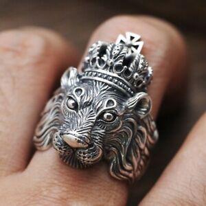 Men-039-s-Stainless-Steel-lannister-King-Crown-Lion-Gothic-Punk-Ring-Biker-Rings