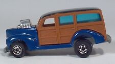 "Hot Wheels Blue Woodie Hot Rod HiRakers 3"" Die Cast Scale Model Raising Rear End"