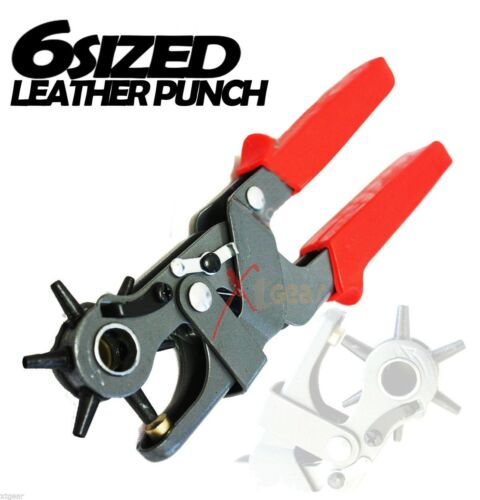 "6 Sized Heavy Duty  9-1//2/"" Leather Hole Punch Hand Pliers Belt Punches Revolving"