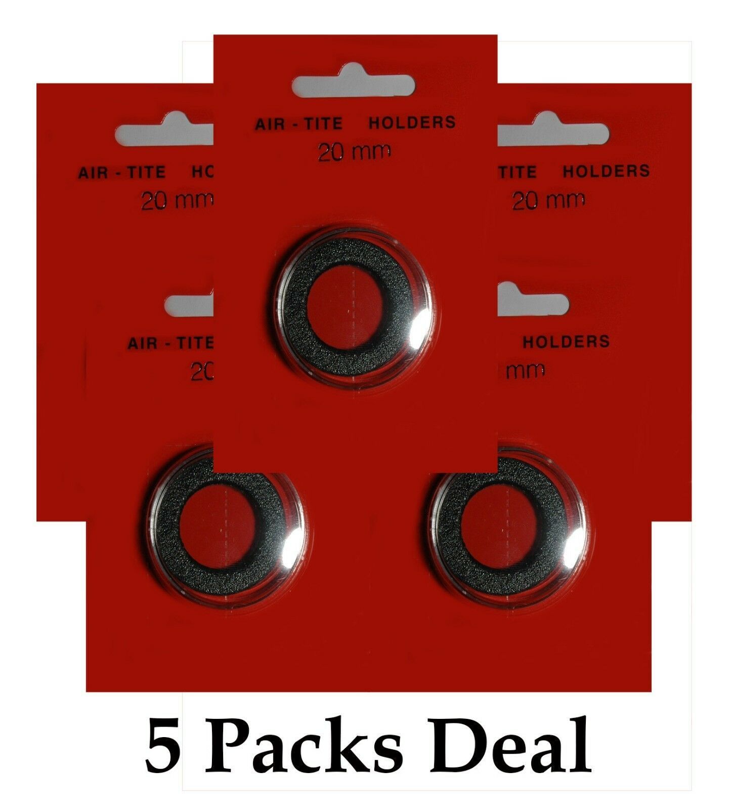 """Quantity of 5 .787/"""" Coin Holder Capsules with Black Rings AirTite T20mm"""