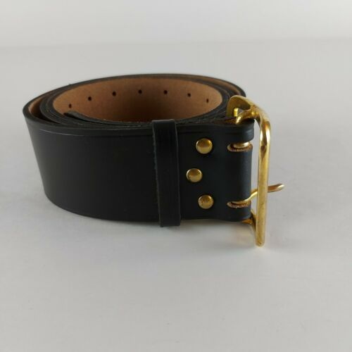 Original Soviet Union Russian Army Officer Real Genuine Leather Black Belt