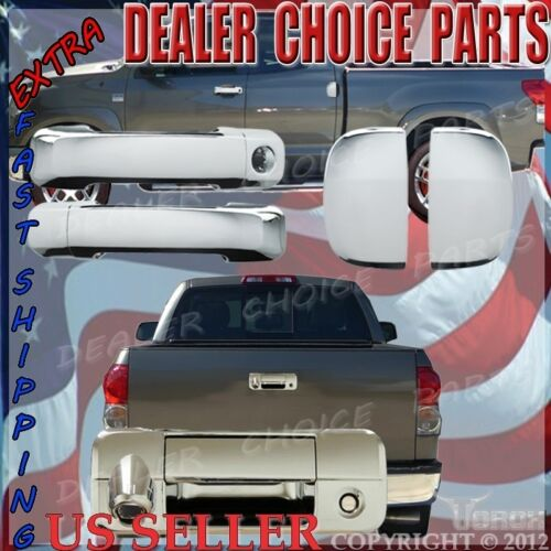 For 07-13 Tundra Double Cab Chrome 4 Door Handle Cover+Tailgate Trim W//Cam