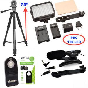 75-034-PRO-TRIPOD-MICROPHONE-120-LED-LIGHT-FOR-CANON-REBEL-T5-T5I-T6-T6I-T6S-T7
