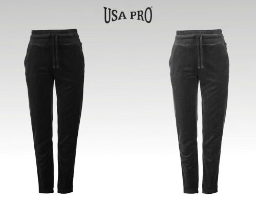 Ladies Branded USA Pro Stylish Velour Sweat Cropped Top Snug Joggers Size 6-16