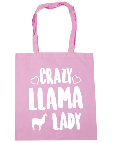 10 litres Crazy llama lady Tote Shopping Gym Beach Bag 42cm x38cm
