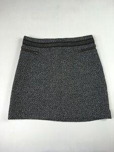 Ladies Womens A Line Mini Skirt Black White Grey Fleck Size 8 10