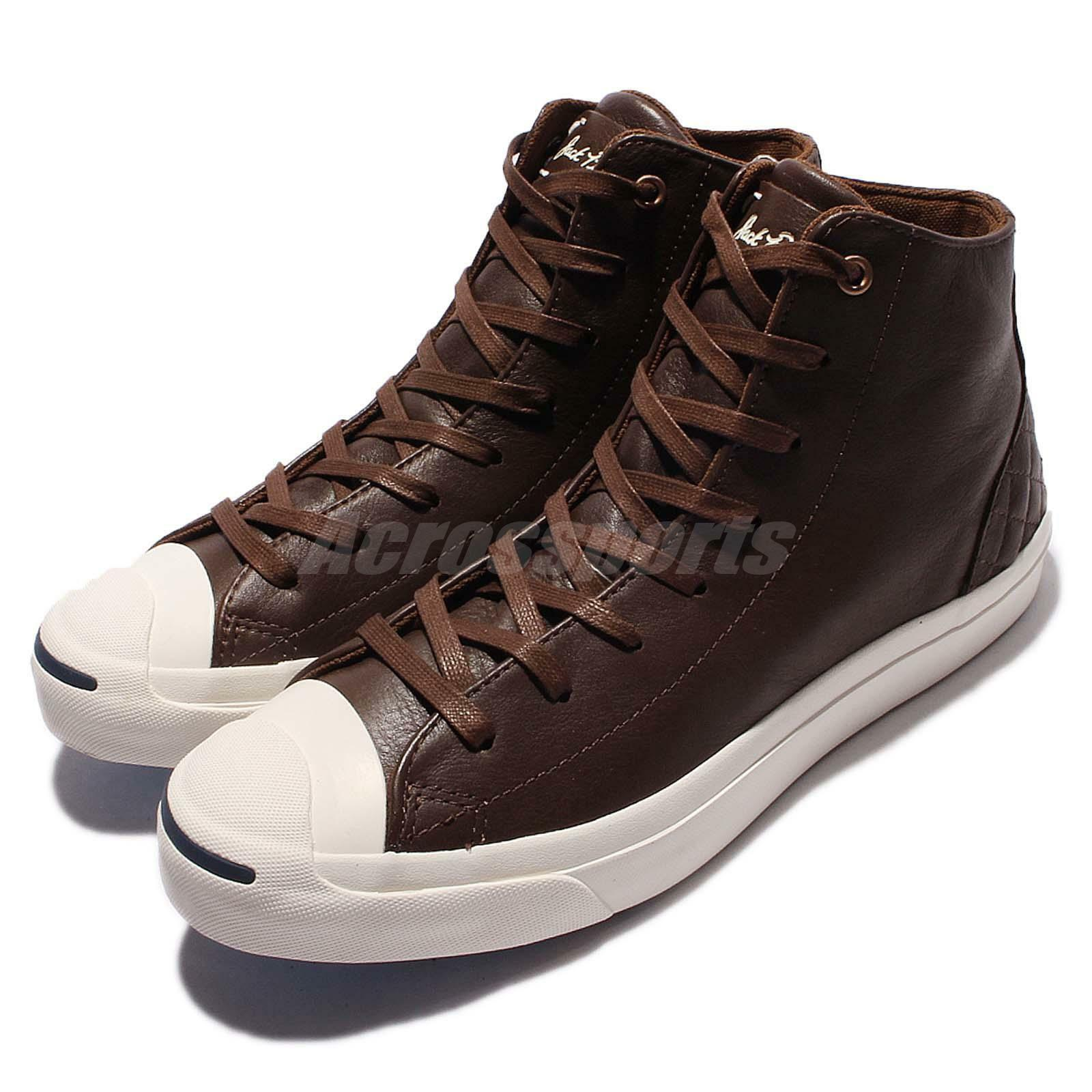 Converse Jack Purcell Jack Mid Pelle Brown White Uomo Casual Casual Casual Shoes 154150C 90f60b