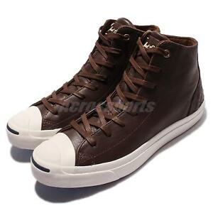 Converse Jack Purcell Jack Mid Leather Brown White Men Casual Shoes ... 51a976740