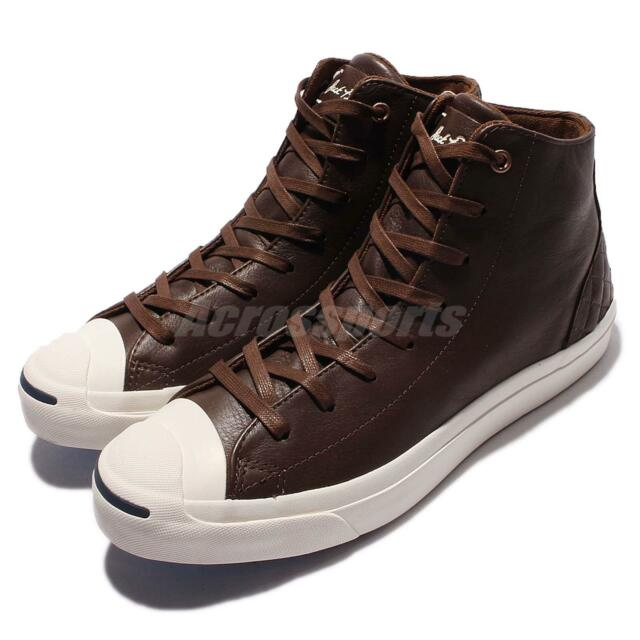 cd87162d04f5 Converse Jack Purcell Jack Mid Leather Brown White Men Casual Shoes 154150C