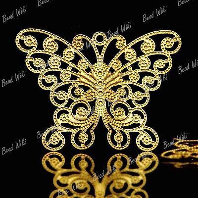10 Brass Animal Butterfly Filigree Charm Pendant MB0587