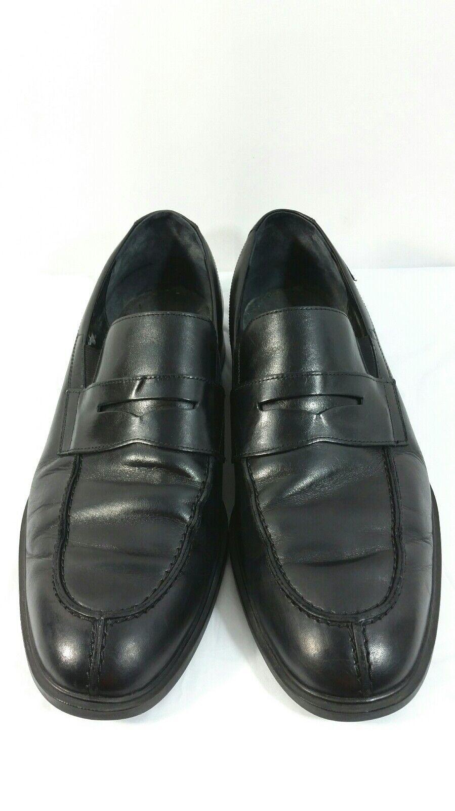 Mephisto Mens Air Jet Black Leather Split Toe Penny Loafer shoes Size 11