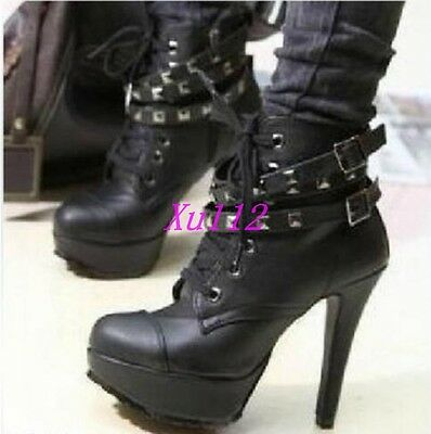 Hot Womens Rivet High heels Punk Studded Lace Up Ankle Boots Pumps Casual Shoes