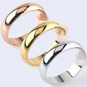 4mm-Round-18K-Yellow-White-Rose-Gold-Plated-Ring-Men-Women-039-s-Wedding-Band-Sz6-12