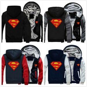 2019 Superman Unisex Winter Fleece Sweatshirts Thicken Hoodie Zipper Coat Jacket