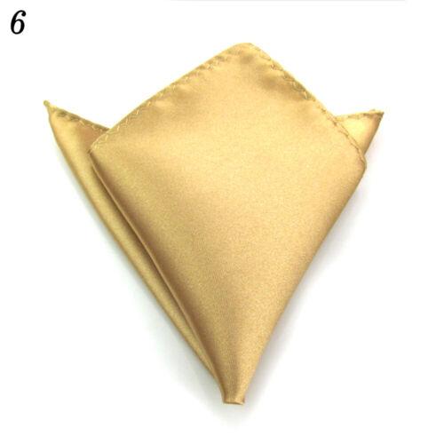 Men Hanky Satin Solid Color Plain Suits Pocket Square Wedding Party Handkerchief