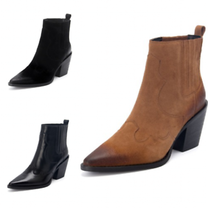 Women-Pointed-Toe-Chunky-Heels-Chelsea-Boots-Block-Heels-Combat-Boots-Party-Shoe