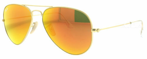 51505926268 New Authentic RAY-BAN Aviator RB3025 112 69 Orange Mirrored Lens Gold  Sunglasses