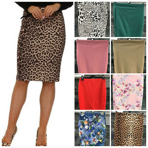 Womens-Midi-Pencil-Skirt-Ladies-Plus-Size-Bodycon-Office-business-Skirt-8-To-20