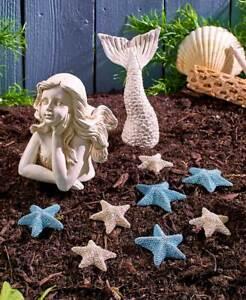 Coastal-Garden-Decor-Mermaid-Statue-or-Starfish-Stones-Cold-Cast-Ceramic-Beach