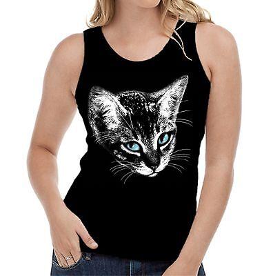 Velocitee Femmes T-SHIRT CAT FACE FELINE Cat Lover Kitty W17312