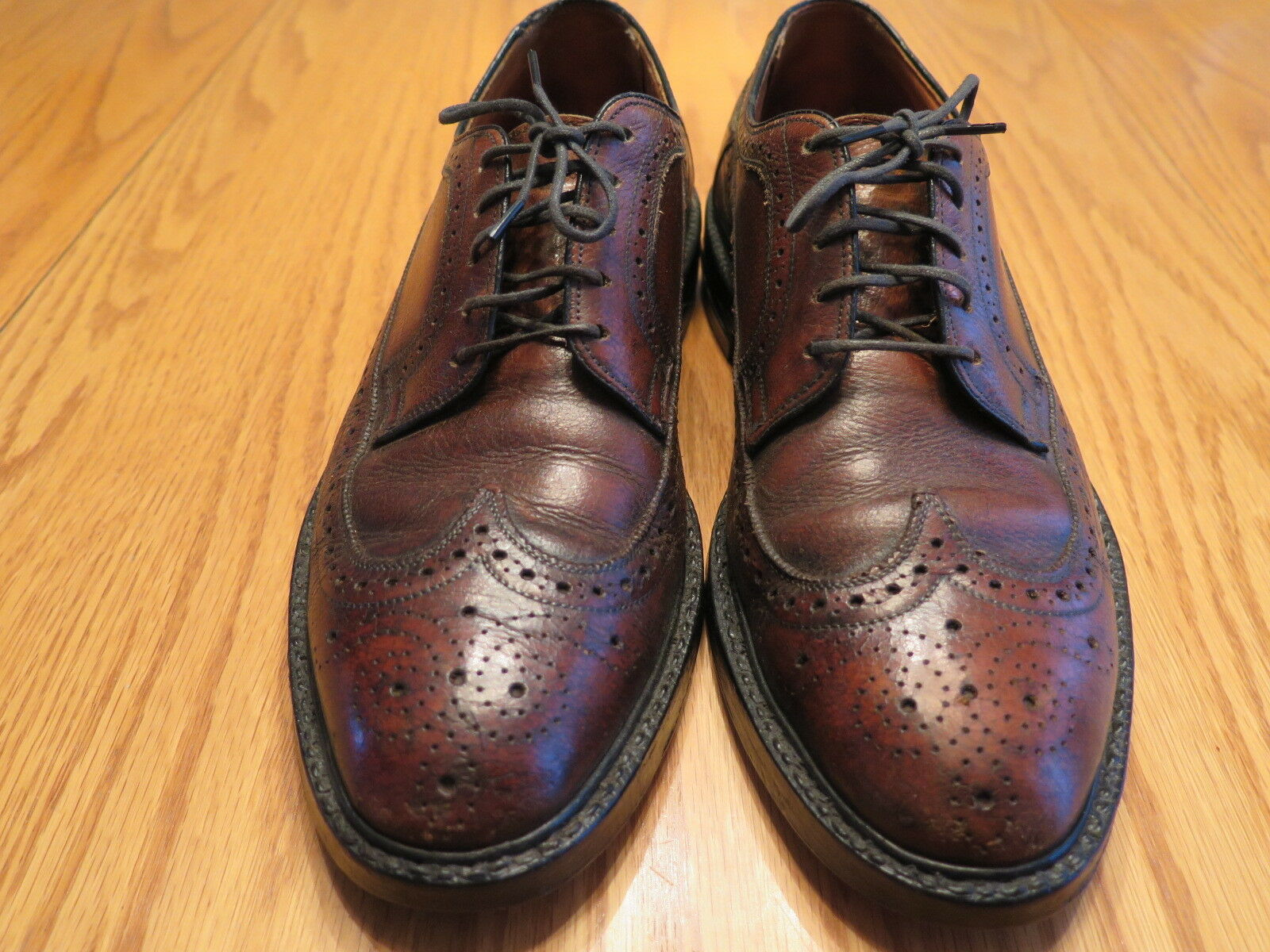 Vtg Nunn Bush Lace Up Ankle Fashioned Wing Tip Wingtip shoes  Brown  Size 7.5D