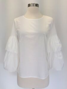 New Madewell JCREW Tiered Ruffle Bell Sleeve Top Blouse Ivory White Sz M G8468