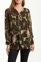 Insight Brown & Green Camo Floral Long Sleeve Sheer Blouse Sz 4 6 8