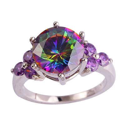 Delicate Round Cut Rainbow Topaz Amethyst Gems Silver Ring Size 6 7 8 9 10 11 12