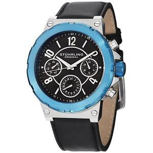 Stuhrling-Sirocco-Men-039-s-46mm-Black-Calfskin-Stainless-Steel-Case-Watch-701-02