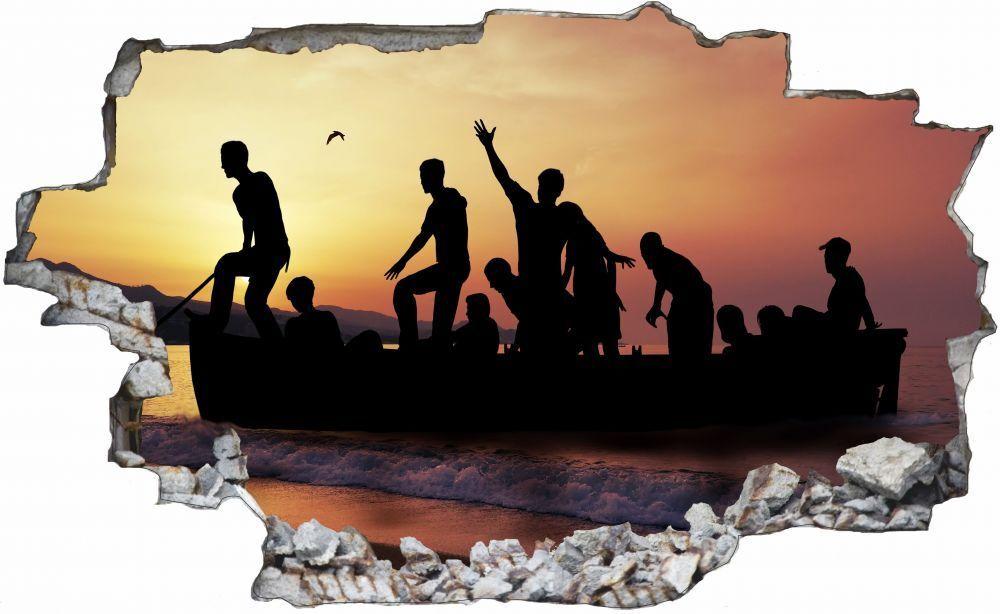 Persone nel mare barca barca barca lago Muro Tatuaggio Parete Adesivo Parete Adesivo c0704 bb868f