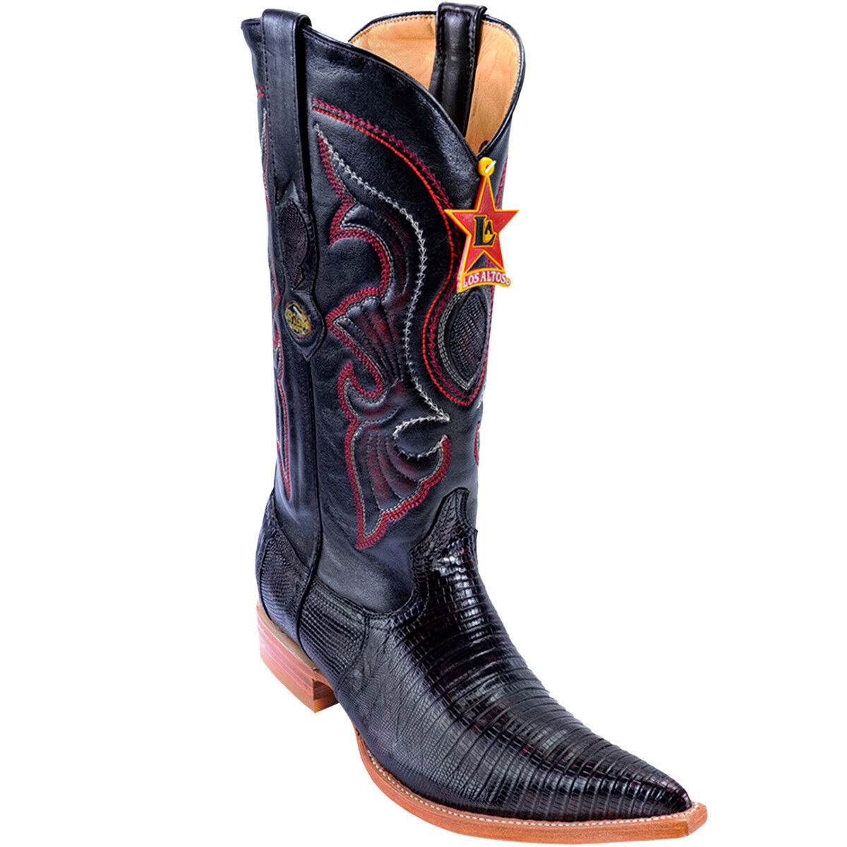Men's Los Altos Genuine Teju Lizard Western Cowboy stivali 3x Pointy Toe Handmade