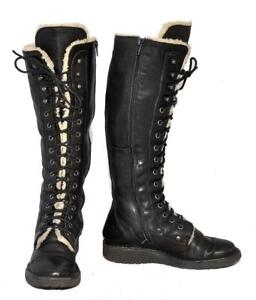 ALDO-Black-Genuine-Leather-Faux-Fur-Lined-Army-Style-Women-039-s-Knee-Boots-Size-36