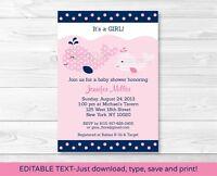 Mod Pink Whale Printable Baby Shower Invitation Editable Pdf