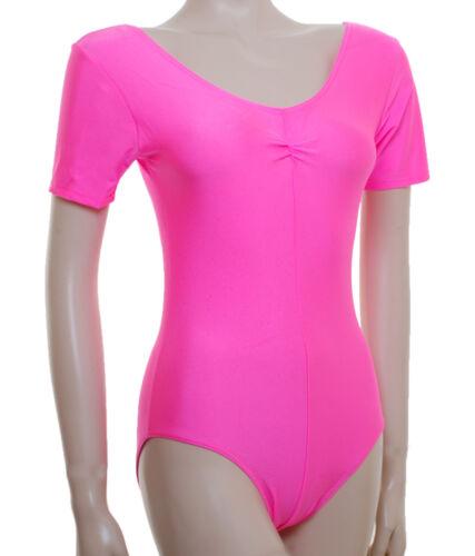 Plus Size Larger Ladies Lycra Leotard Short Sleeve Gath/'d Bust #JANE