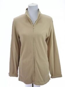 Eileen-Fisher-Womens-100-Cotton-Zip-Up-Jacket-Lounge-Track-Beige-Sz-Large