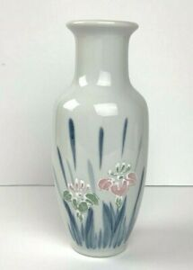Ceramic-Hand-Painted-Decorative-Vase-8-034-Tall-Delicate-Floral-Design-Unbranded