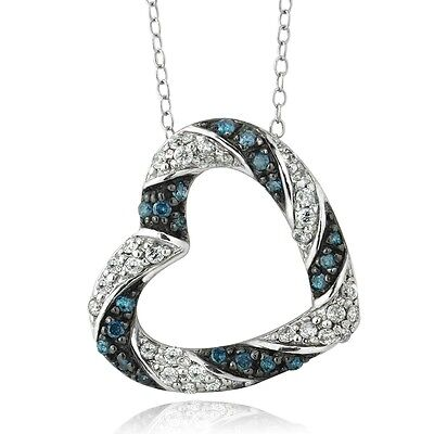 Sterling Silver 0.50ct TDW Treated Blue & White Diamond Heart Necklace