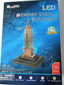 Puzzles & Geduldspiele 3D Puzzle Empire State Building LED New York Cubic Fun Licht Light Gebäude Haus