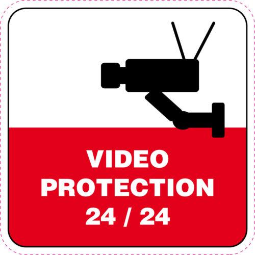 video-protection 24//24 Panneau ALUMINIUM 35X35 cm