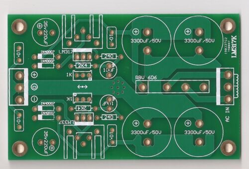 green ! LM317//337 dual rail regulator PCB for preamplifier//headphone amp