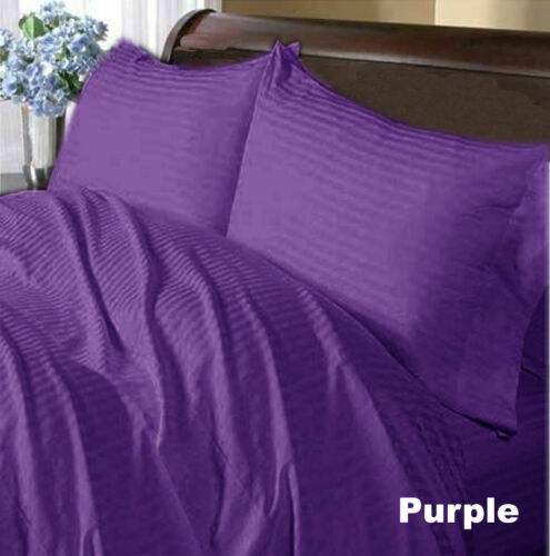 Egyptian Cotton Extra Deep Pocket 1 PC Fitted Sheet Striped Colors US Queen