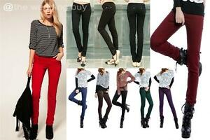 LADIES SKINNY SLIM FIT COLOURED STRETCH JEANS WOMENS JEGGINGS ...