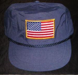 NEW KC Cap Navy Blue Nylon 6 Panel Unconstructed Hat Cap US FLAG ... 4d9a43303bb