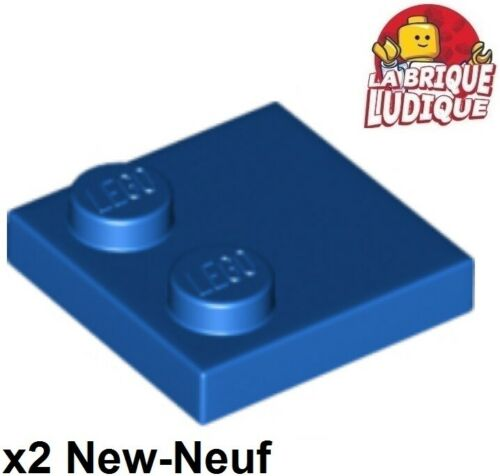 Lego 2x Tile Modified plaque plate lisse 2x2 2 tenon bleu//blue 33909 NEUF